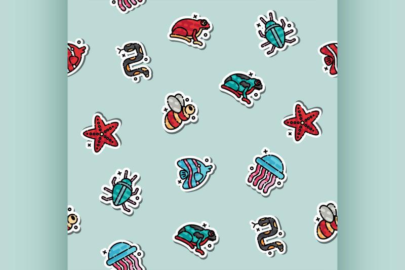 poisonous-creatures-concept-icons-pattern