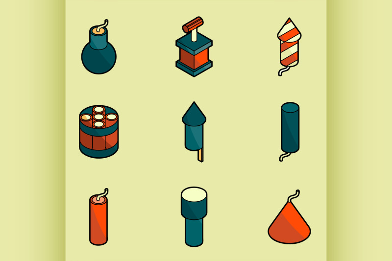 pyrotechnics-color-outline-isometric-icons