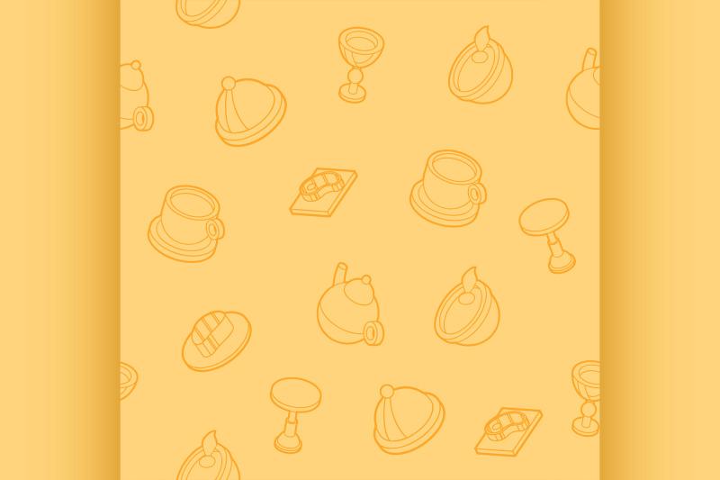 restaurant-flat-outline-isometric-pattern