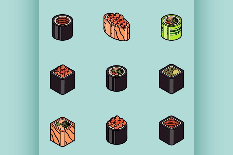 sushi-flat-outline-isomeric-icons