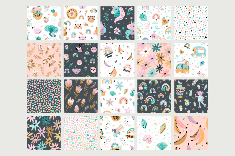 nursery-art-baby-clipart-and-seamless-pattern