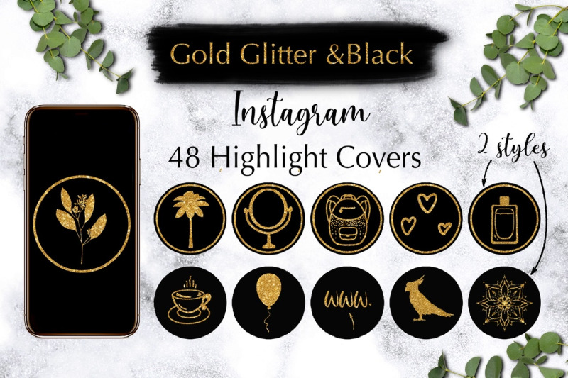 instagram-highlight-covers-gold-glitter-with-black