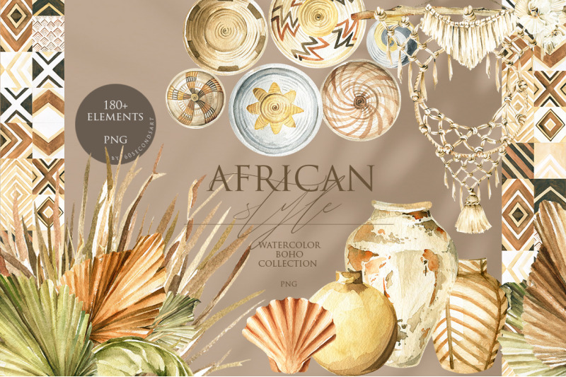 african-ethnic-boho-style-watercolor-collection