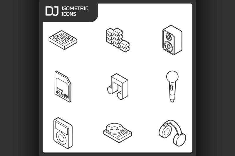 dj-outline-isometric-icons