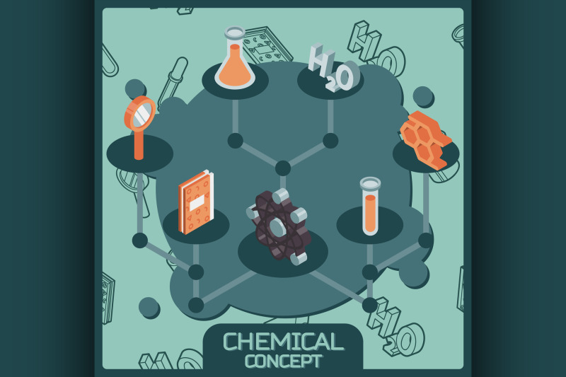 chemical-color-isometric-concept-icons