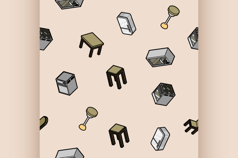 kitchen-color-outline-isometric-pattern