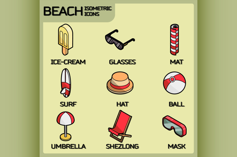 beach-color-outline-isometric-icons