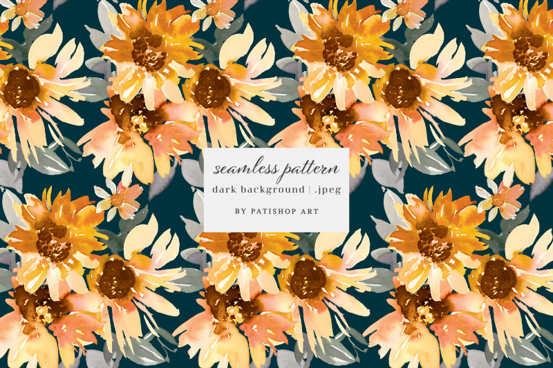 Watercolor Sunflower Clipart Collection By Patishop Art ...