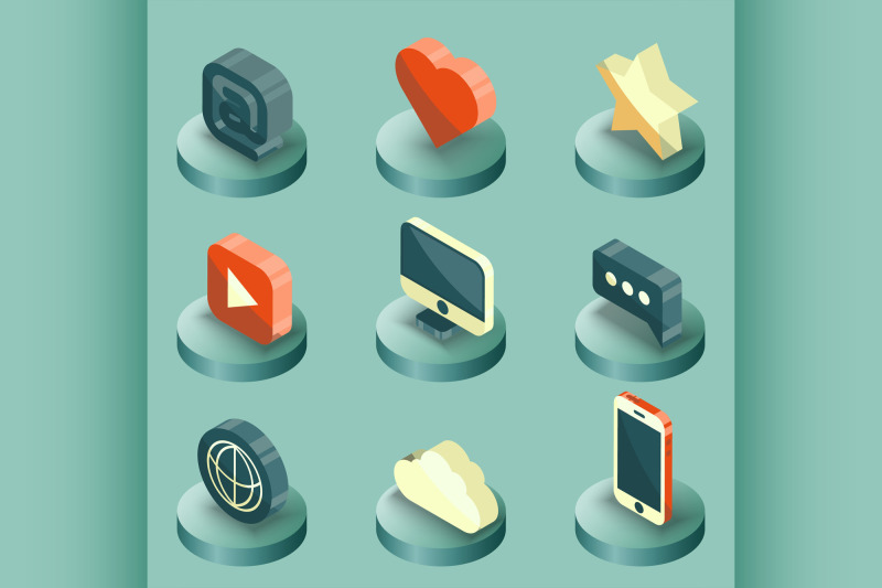 media-color-isometric-icons-set