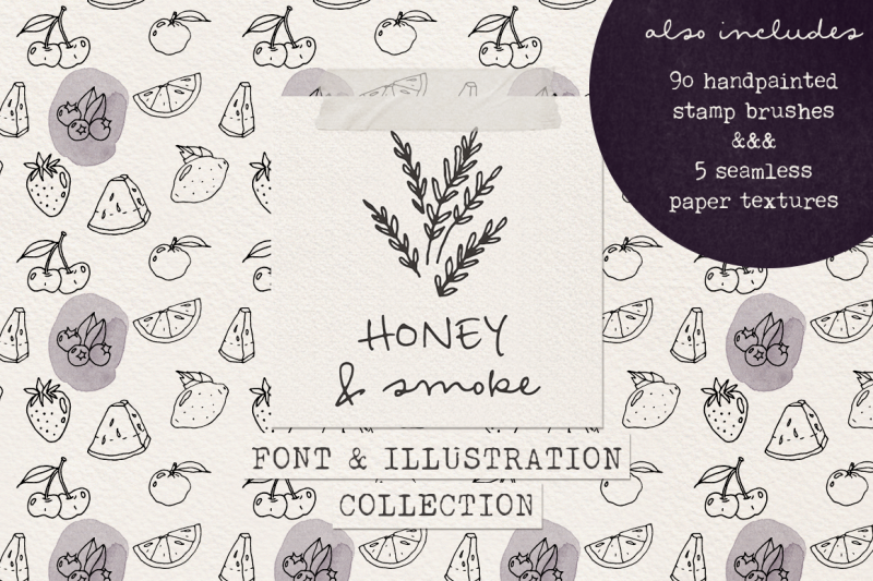 honey-and-smoke-font-and-illustration-collection