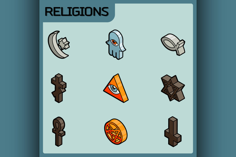religions-color-outline-isometric-icons