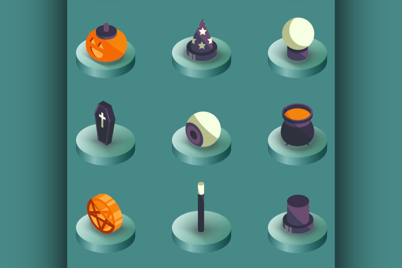 halloween-color-isometric-icons