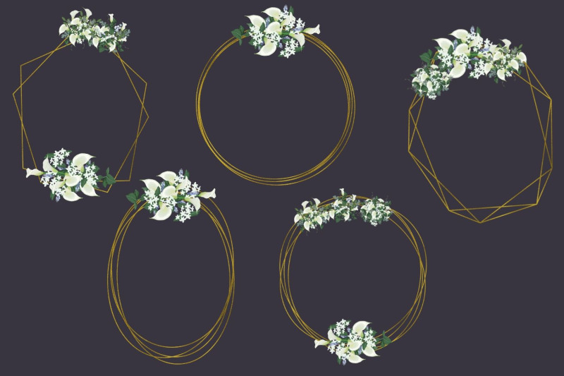 white-lilies-amp-romantic-geometric-frames-frames-with-white-flowers
