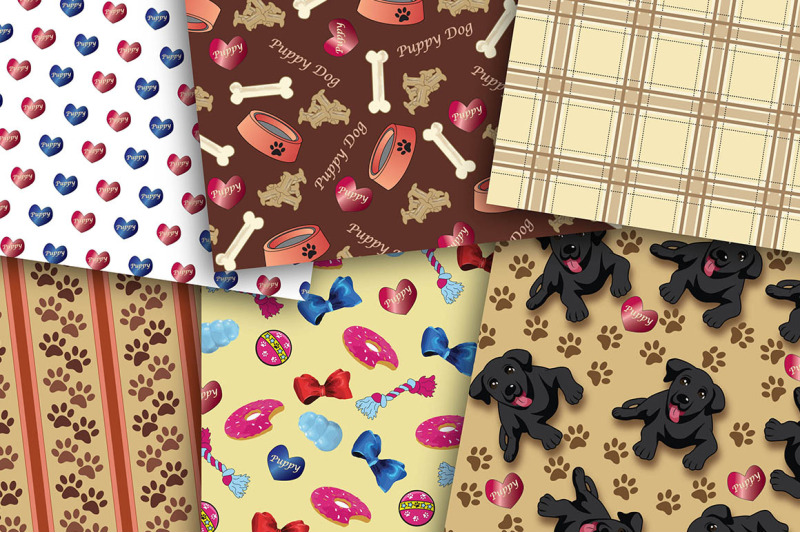 puppy-dog-set-digital-papers-puppies-hearts-stripes-plaid-scrapbo