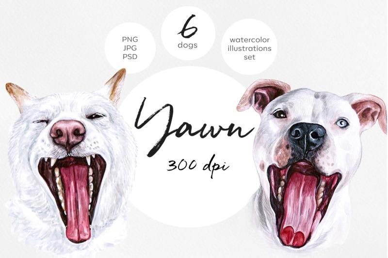 watercolor-set-yawn-dog-illustrations-6-dogs-sleep