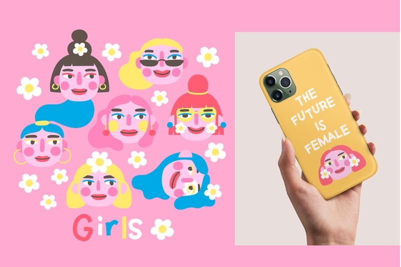 girls-portraits-amp-patterns-set