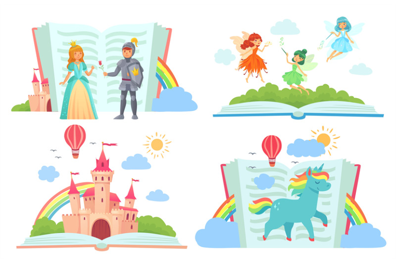open-books-with-fairy-tales-characters-kingdom-with-castle-royal-kni