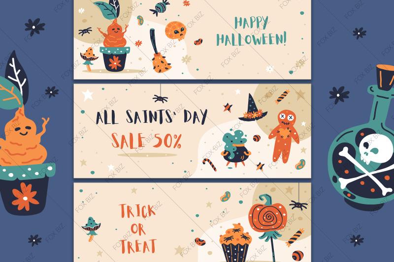 happy-halloween-digital-prints-stickers-hand-drawn-vector