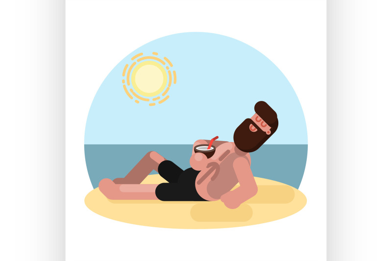 man-laying-on-beach-with-cocktail