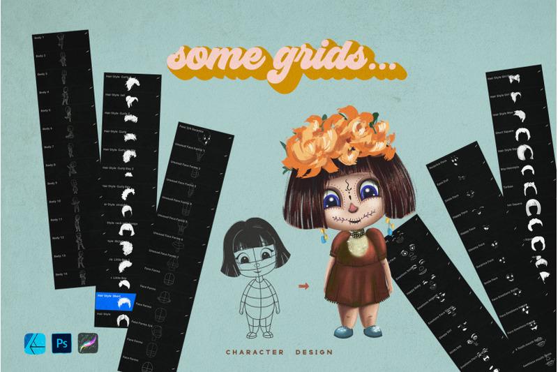 cute-kids-grids-for-procreate