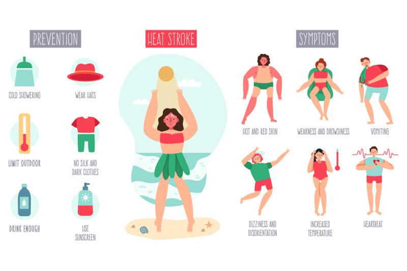 sunstroke-infographic-female-character-heatstroke-suffering-summer-s