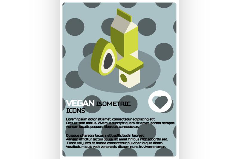 vegan-life-color-isometric-poster