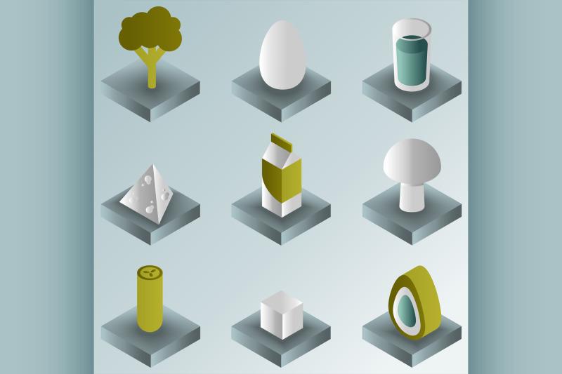 vegeterian-color-gradient-isometric-icons