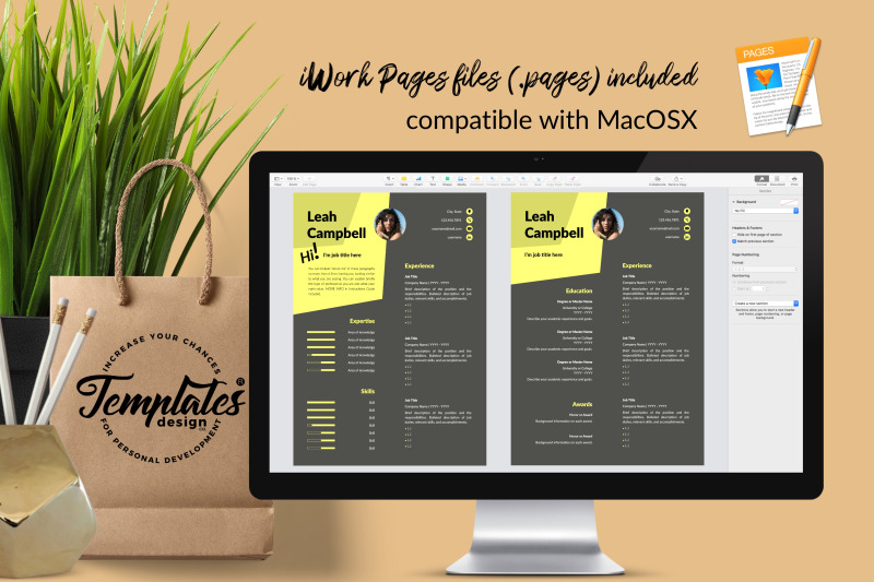 modern-resume-template-for-microsoft-word-amp-apple-pages-leah-campbell