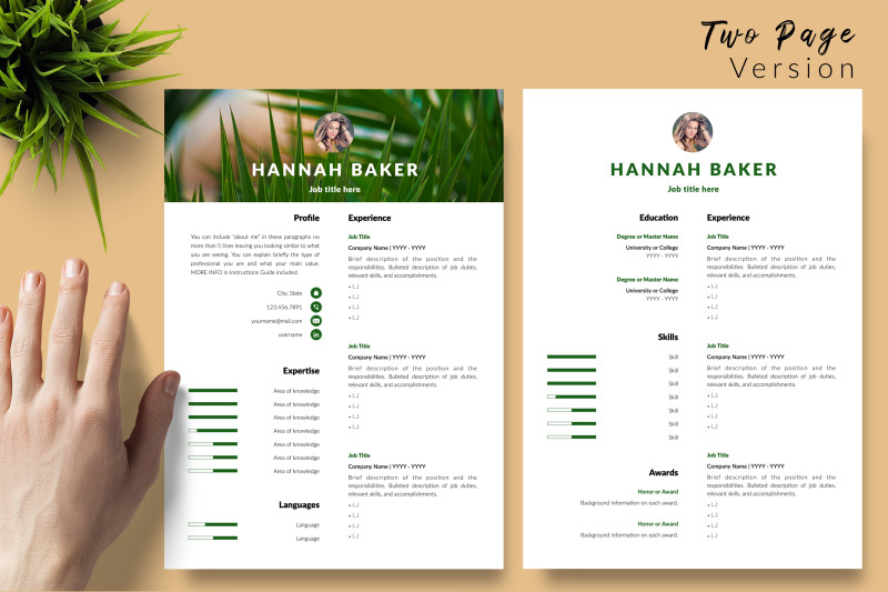 creative-resume-template-for-microsoft-word-amp-apple-pages-hannah-baker