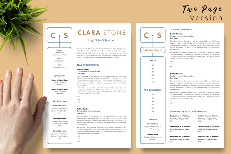 teacher-resume-template-for-microsoft-word-amp-apple-pages-clara-stone