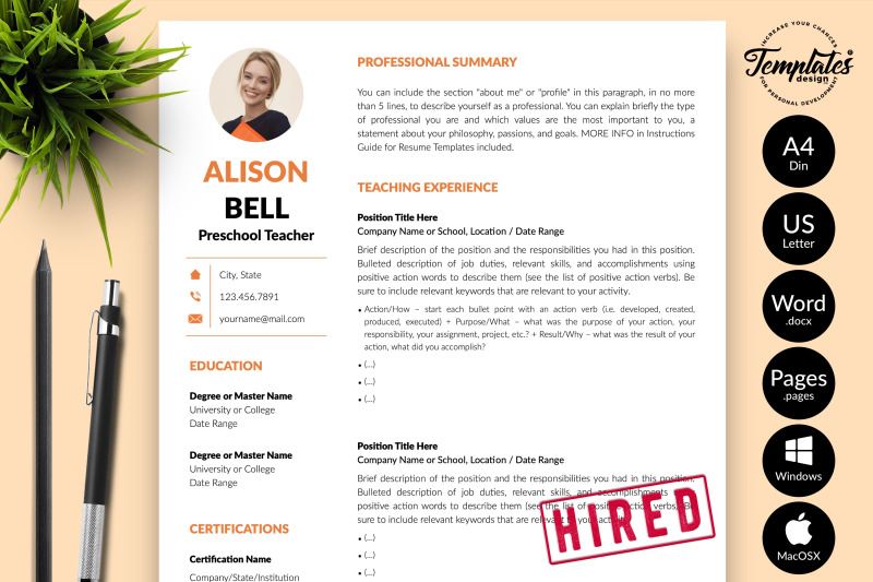 teacher-resume-template-for-microsoft-word-amp-apple-pages-alison-bell