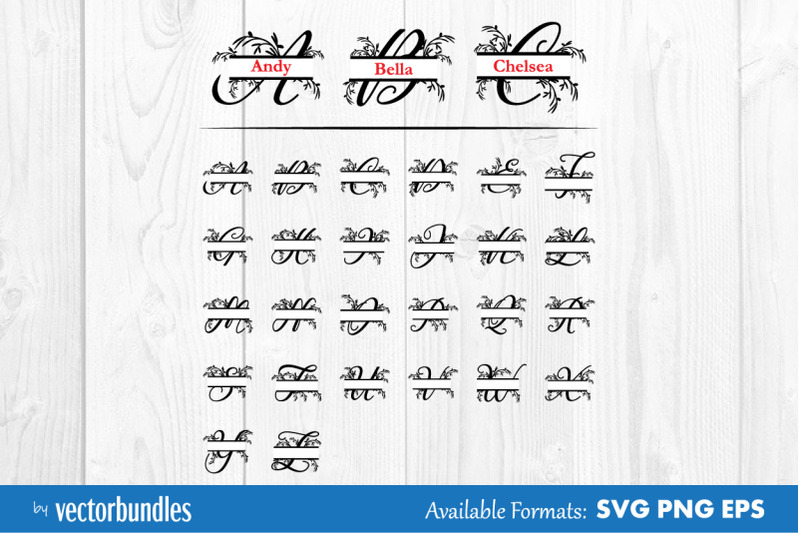 monogram-split-floral-alphabet-svg