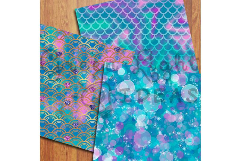mermaid-digital-papers-undersea-backgrounds-fantasy-iridiscent-foil