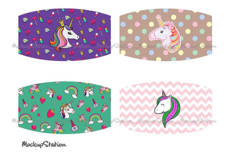 unicorn-face-mask-sublimation-designs-bundle-kids-face-cover-png