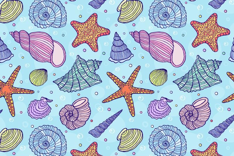 ocean-shells-vector-patterns