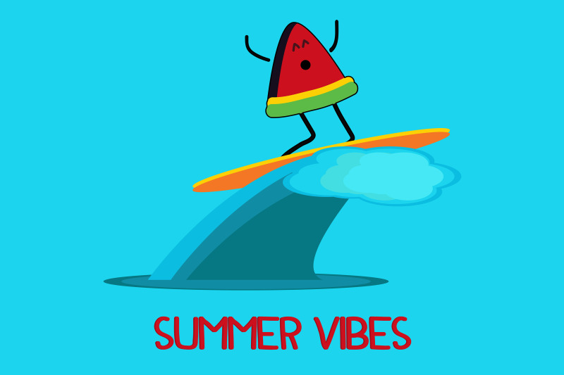 summer-icon-with-watermelon-surfing