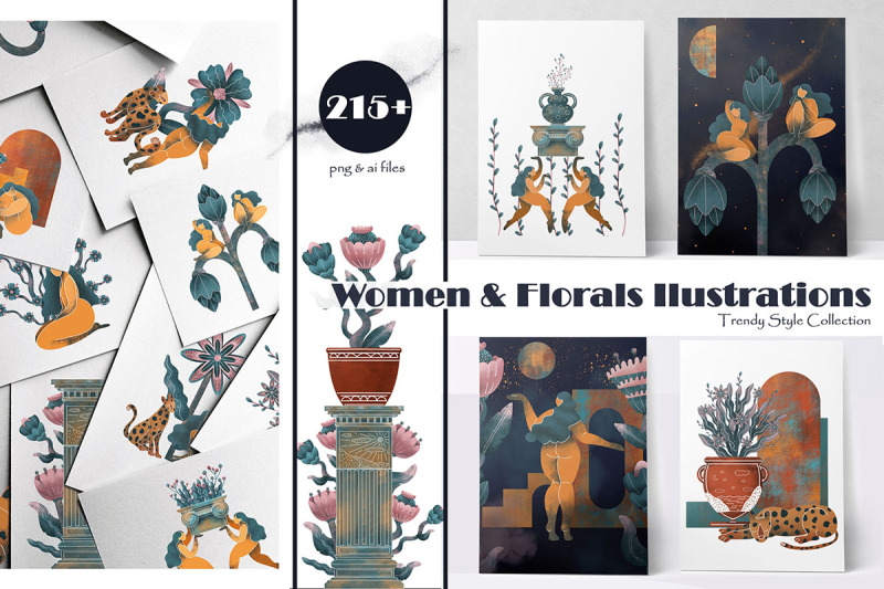 women-and-florals-illustrations