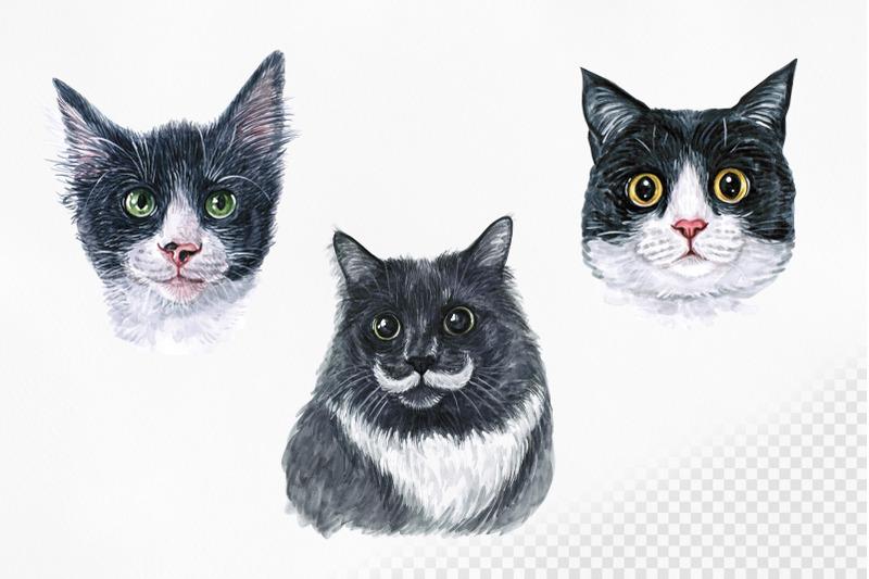 black-cats-watercolor-set-nbsp-cat-illustrations-cute-9-cats-nbsp