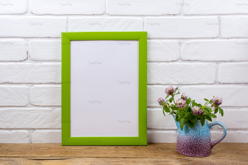 green-poster-frame-mockup-with-pink-clover-in-pitcher