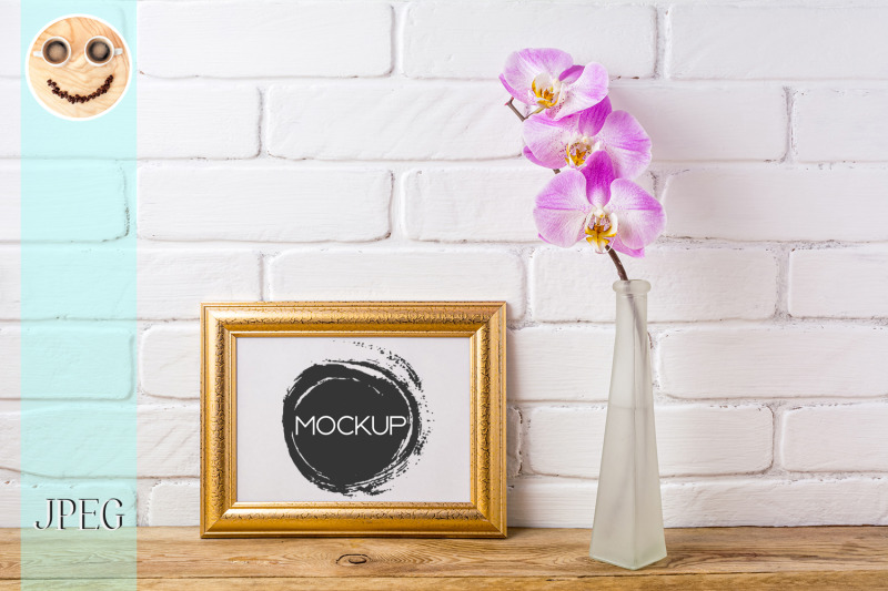 gold-decorated-landscape-frame-mockup-with-pink-orchid