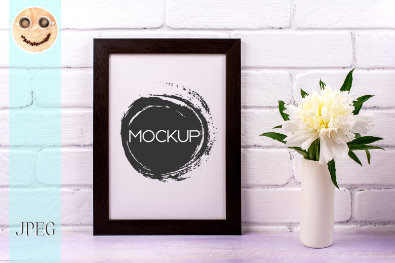 black-brown-poster-frame-mockup-with-white-peony