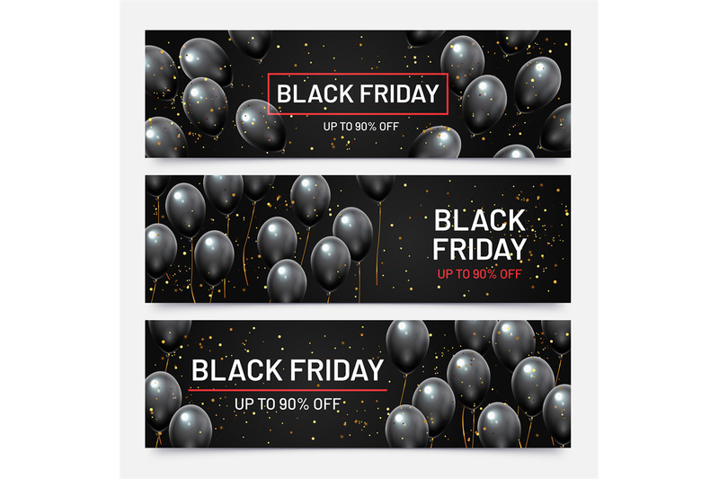 black-friday-sale-horizontal-banners-set-flying-glossy-balloons-with