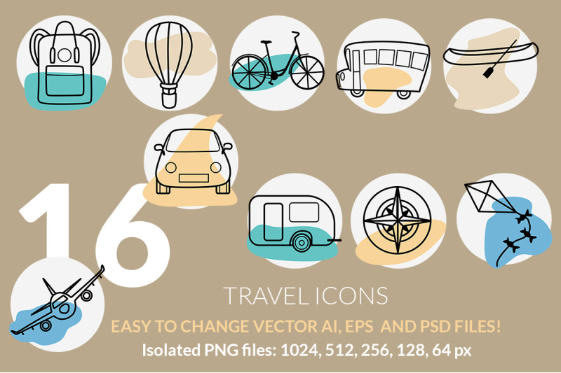 travel-and-vacation-icons-set