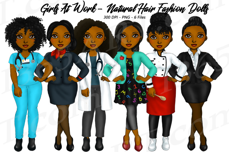 working-career-girls-african-american-jobs-clipart