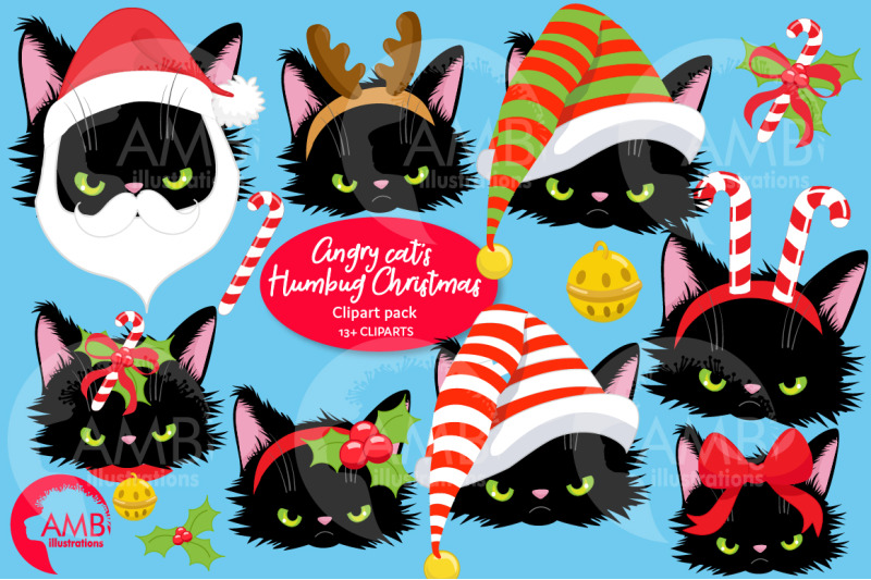 Angry Cat Christmas Dress Up Clipart AMB-2693 By ...