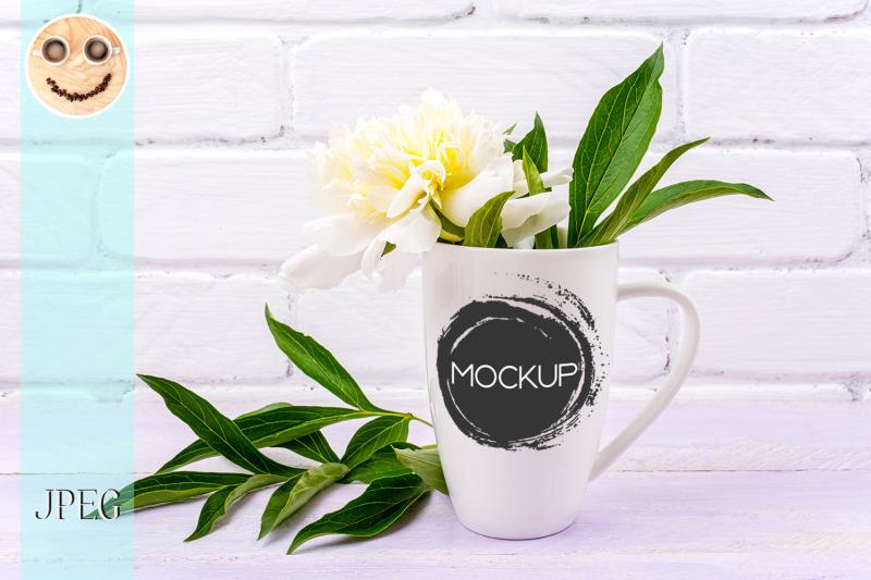 white-coffee-cappuccino-mug-mockup-with-peony