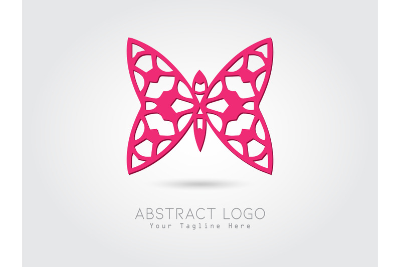 logo-abstract-butterfly-pink-color