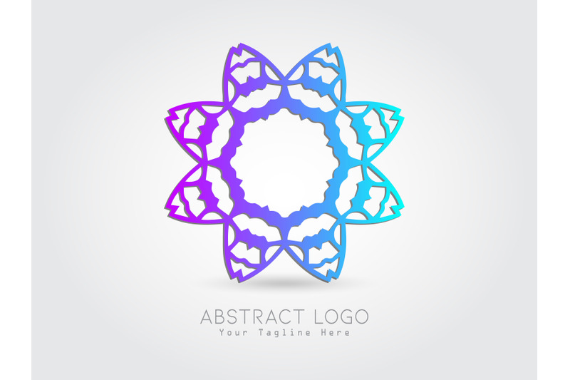 logo-abstract-flower-gradiation-blue