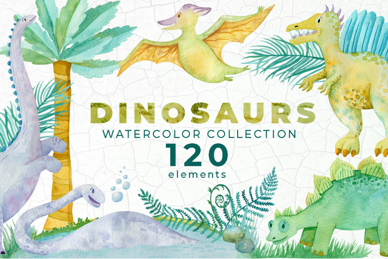 dinosaur-watercolor-collection