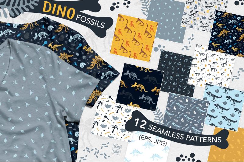 dinosaur-fossils-patterns-set